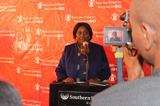 Minister of Community Development and Social Services Hon Emerine Kabanshi during the official launch of the Childhood Index Report in Lusaka