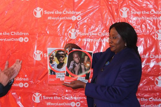 Mister of Community Development and Social Services Hon Emerine Kabanshi during the launch of the childhood index/report